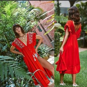 """Bali will wait for you """"embroidered"""" midi"""